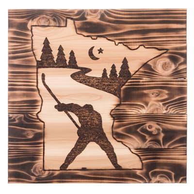 "(17"" x 17.5"" Minnesota Slapshot - Cedar Sign)"