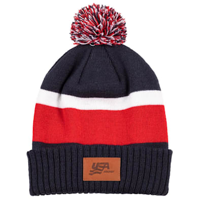 (USA Hockey Beanie with Leather Patch)