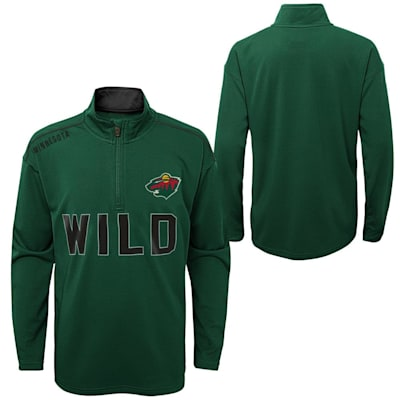 (Adidas Attacking Zone 1/4 Zip Performance Top - Minnesota Wild - Youth)