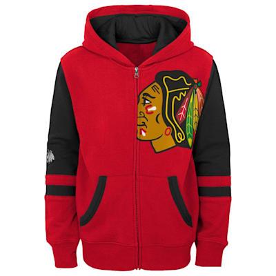 (Adidas Faceoff FZ Fleece Hoodie - Chicago Blackhawks - Youth)