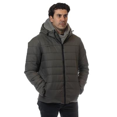 (Bauer Supreme Hooded Puffer Jacket - Grey - Adult)