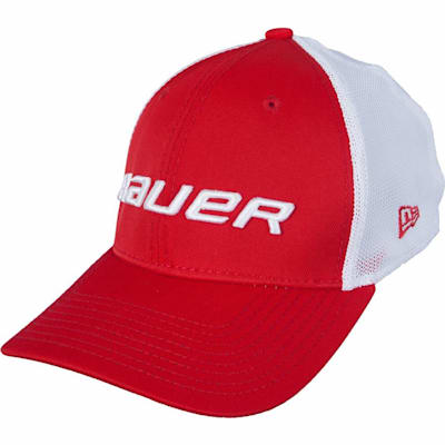 Red (Bauer 39THIRTY Stretch Mesh Fitted Hat - Adult)