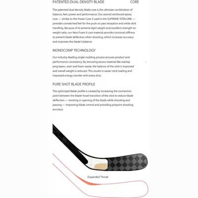 3 Technologies Combine To Form One Great Blade (Bauer Vapor APX Composite Stick - Junior)