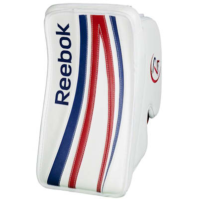 White/Blue/Red (Reebok Premier 4 Pro Goalie Blocker - Intermediate)