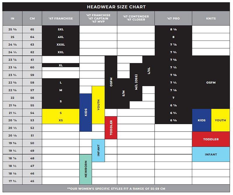 47 Brand Headwear Size Chart