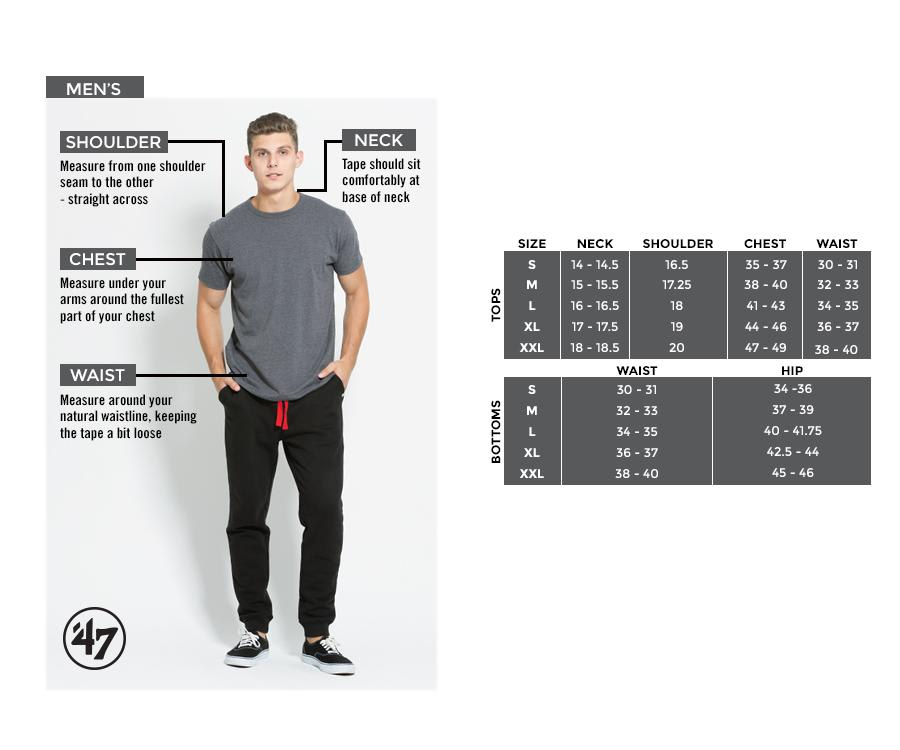 47 Brand Mens Sizing Chart