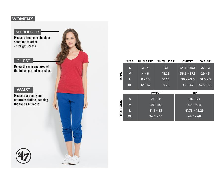 47 Brand Womens Sizing Chart