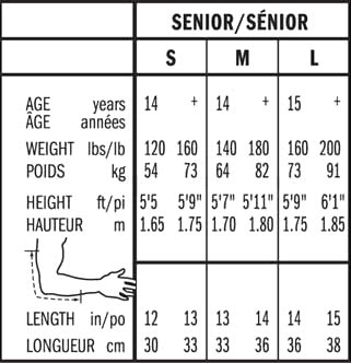 Bauer Senior Elbow Pad Sizing, Bauer Senior Elbow Pad Size Chart
