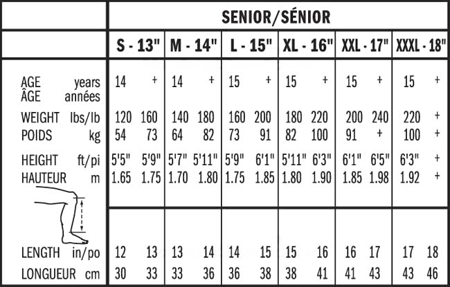 Bauer Senior Hockey Shin Guard Sizing, Bauer Senior Hockey Shin Guard Size Chart