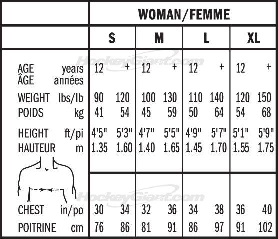 Bauer Womens Hockey Shoulder Pad Sizing, Bauer Womens Hockey Shoulder Pad Size Chart