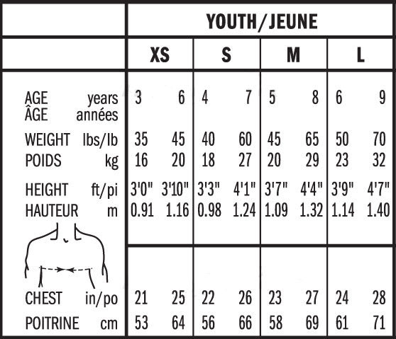Bauer Youth Hockey Shoulder Pad Sizing, Bauer Youth Hockey Shoulder Pad Size Chart