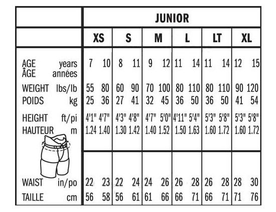 Bauer Junior Ice Hockey Pant Size Chart