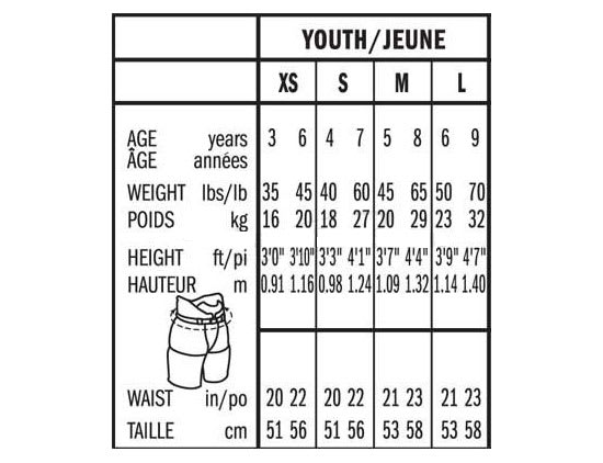 Bauer Youth Ice Hockey Pant Size Chart