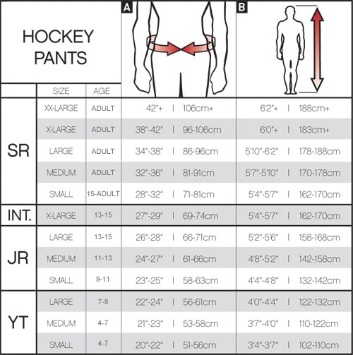 CCM Ice Hockey Pant Sizing Chart, CCM Ice Hockey Pants