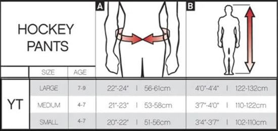 Pure Hockey Youth Hockey Pants Sizing Chart, Pure Hockey Youth Pants title=