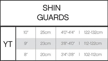 Pure Hockey Youth Hockey Shin Guard Sizing Chart, Pure Hockey Youth Shin Guard title=