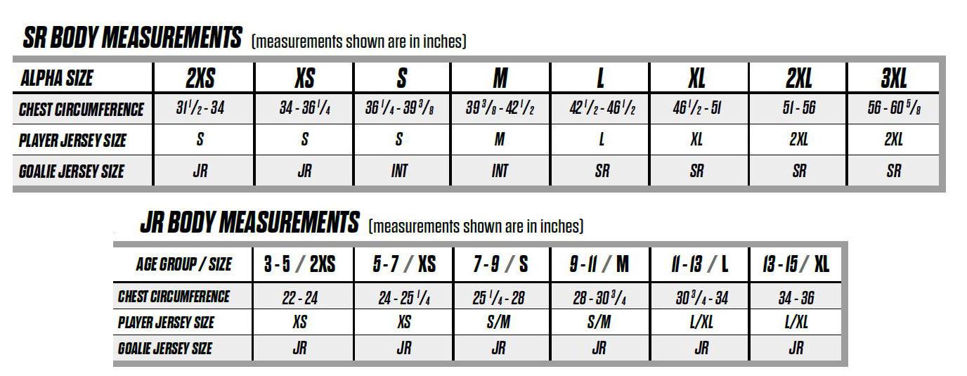 CCM Gamewear Size Chart