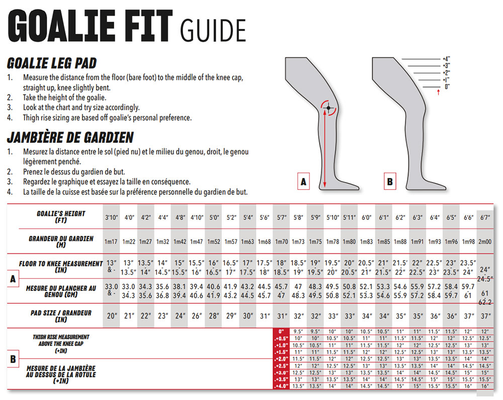 2020 CCM Leg Pad Size Chart