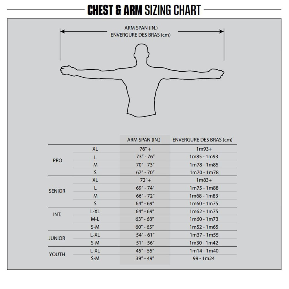 2019 Warrior Chest Protector Size Chart