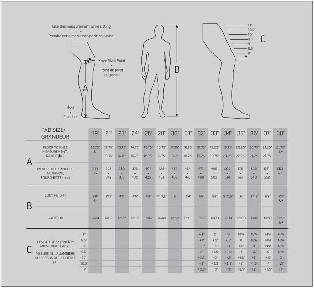 2020 Warrior Leg Pad Size Chart