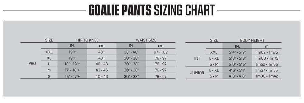 2021 Warrior Goalie Pants Size Chart