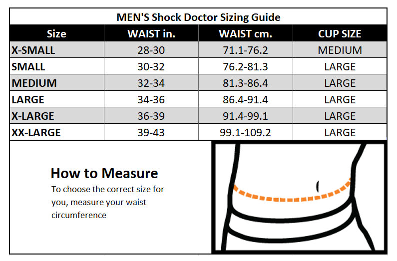 Shock Doctor Mens Sizing Guide