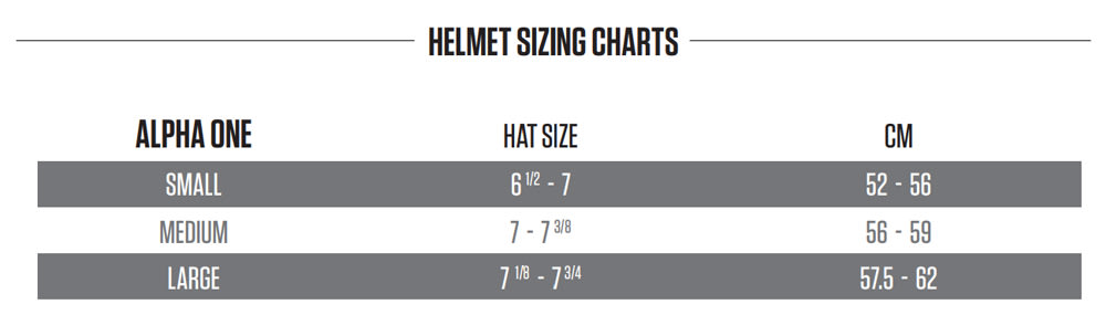 Warrior Alpha One Hockey Helmet Size Chart