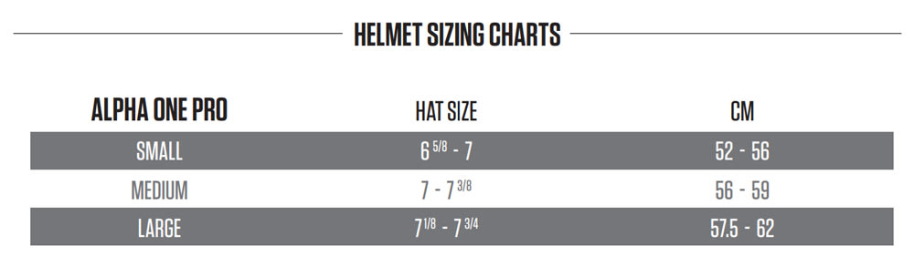 Warrior Alpha One Pro Hockey Helmet Size Chart