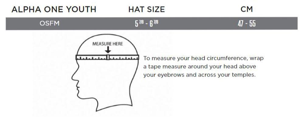 Warrior Alpha One Youth Hockey Helmet Size Chart