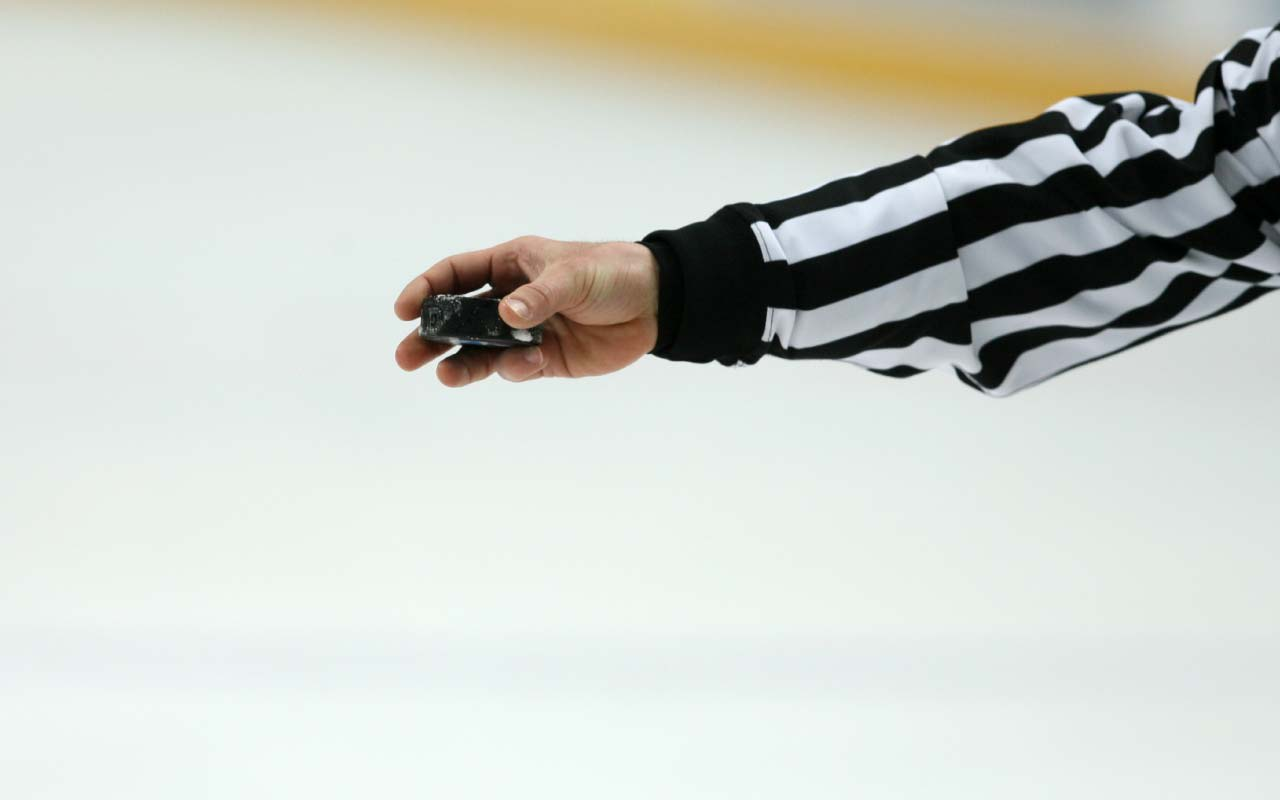 Ref and hockey puck